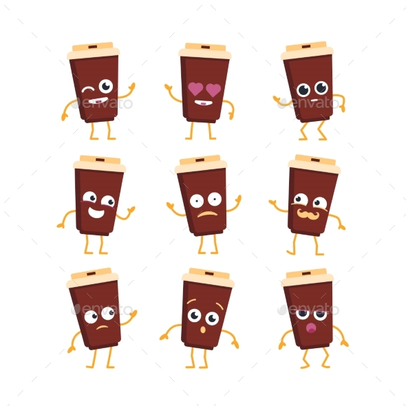 Coffee - Vector Set of Mascot Illustrations. - Food Objects