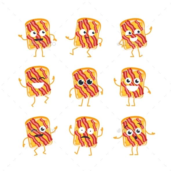 Sandwich - Vector Set of Mascot Illustrations. - Food Objects