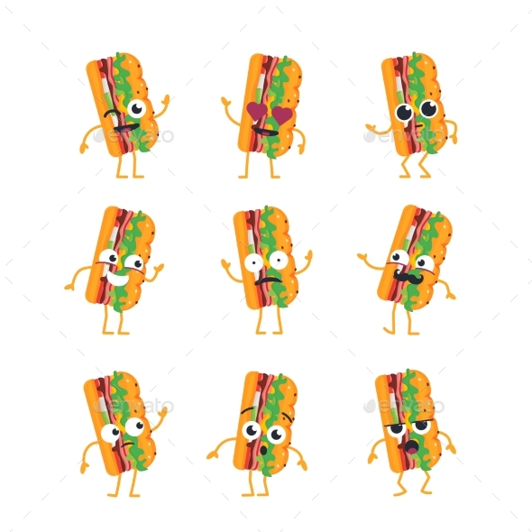 Sub Character - Vector Set of Mascot Illustrations - Food Objects