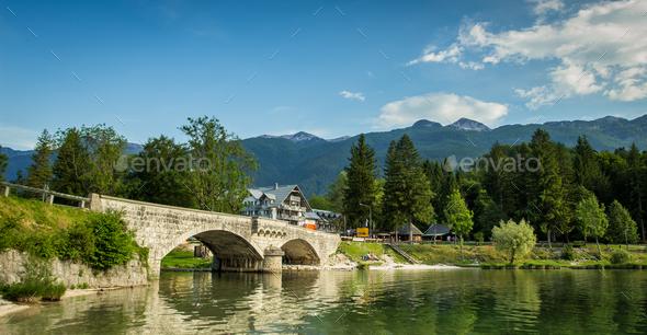 View of bohinj lake in julian alps slovenia - Stock Photo - Images