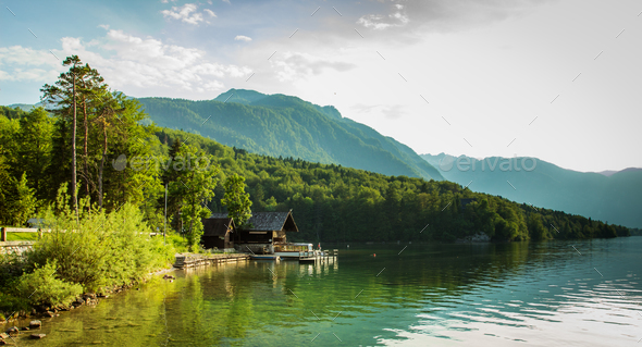 View of bohinj lake in julian alps slovenia - Stock Photo - Images