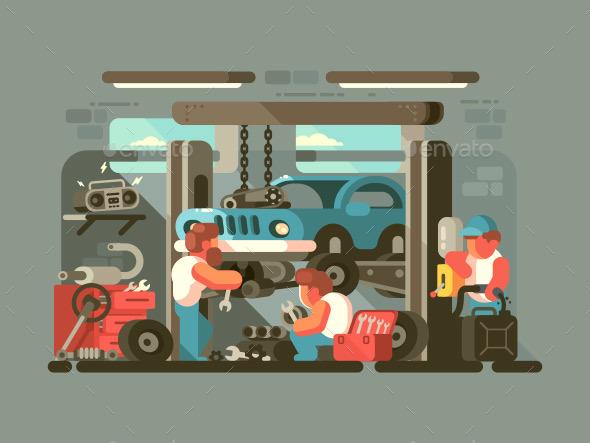 Garage Auto Service - Miscellaneous Vectors