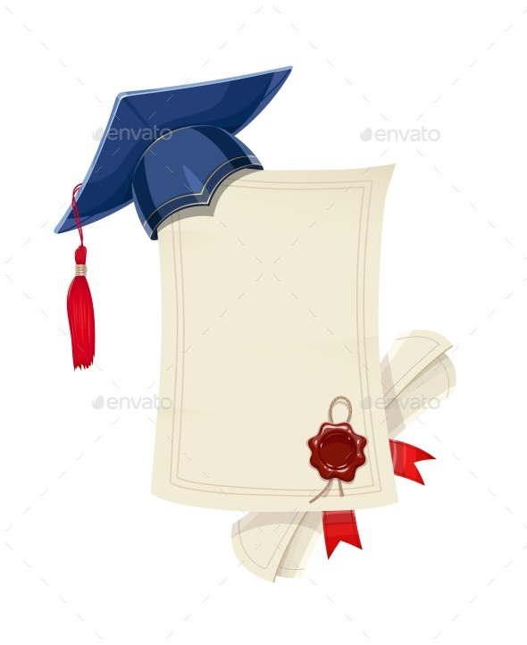 Blue Academicic Graduation Cap with Diploma Blank and Scroll - Vectors