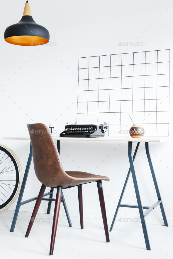 Desk with typewriter and yerba mate - Stock Photo - Images