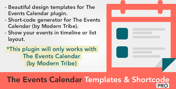 The Events Calendar Shortcode and Templates  - WordPress Plugin - CodeCanyon Item for Sale