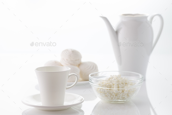 Morning breakfast with dairy products and coffee - Stock Photo - Images