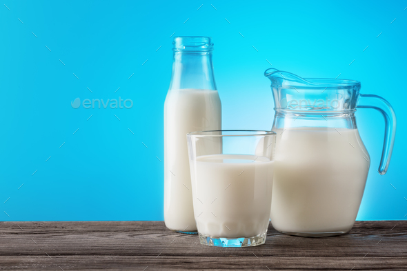 Transparent glass dishes with dairy products - Stock Photo - Images