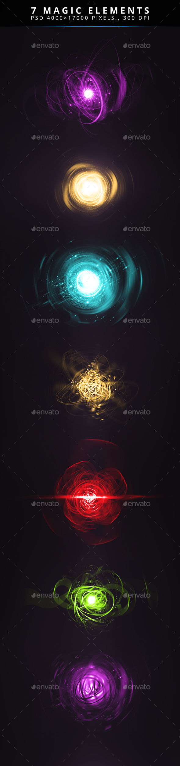 7 Magic Elements - Flourishes / Swirls Decorative