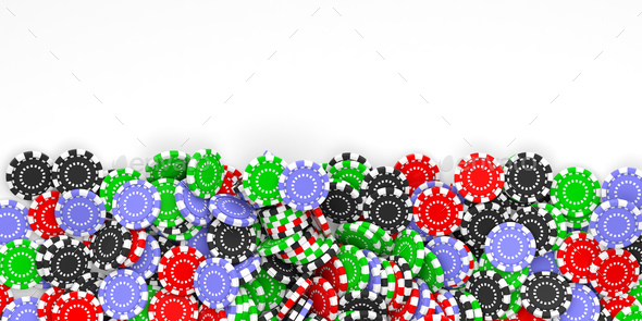 Casino chips background and copy space 3d illustration - Stock Photo - Images