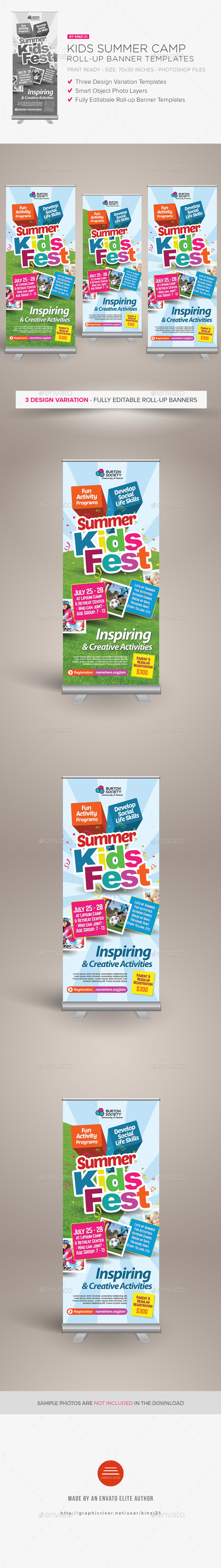 Kids Summer Camp Roll-up Banners