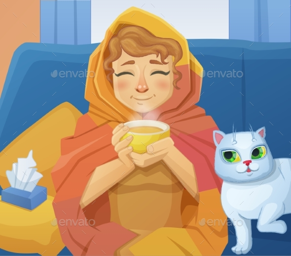 A Sick Cold Woman f with a Cup of Hot Tea - People Characters