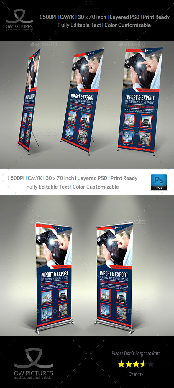 Trading Company Signage Banner Roll Up Template - Signage Print Templates