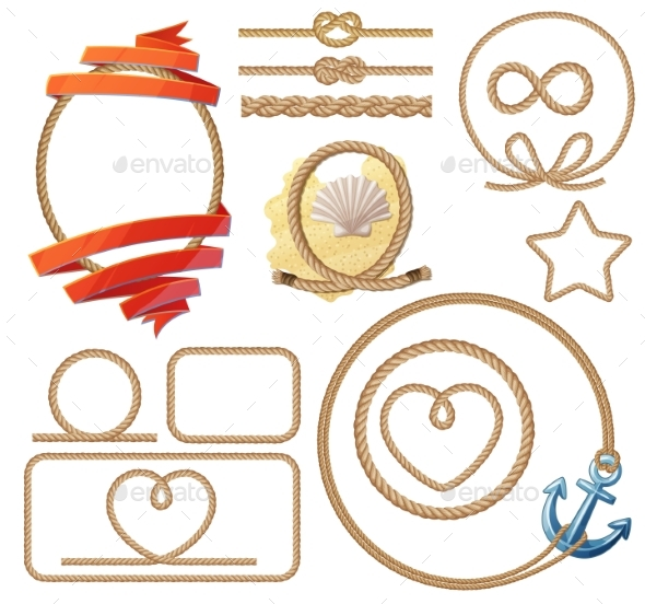 Rope Knotes and Frames Set. Vector Illustration - Miscellaneous Vectors