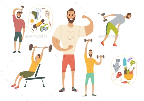 People Workout with Sports Equipments, Exercises - Sports/Activity Conceptual