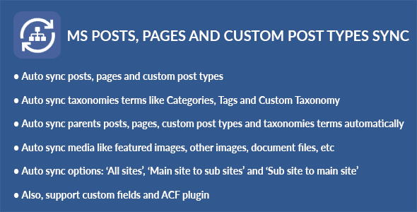 WordPress Multisite Posts, Pages and Custom Post Types Sync - CodeCanyon Item for Sale