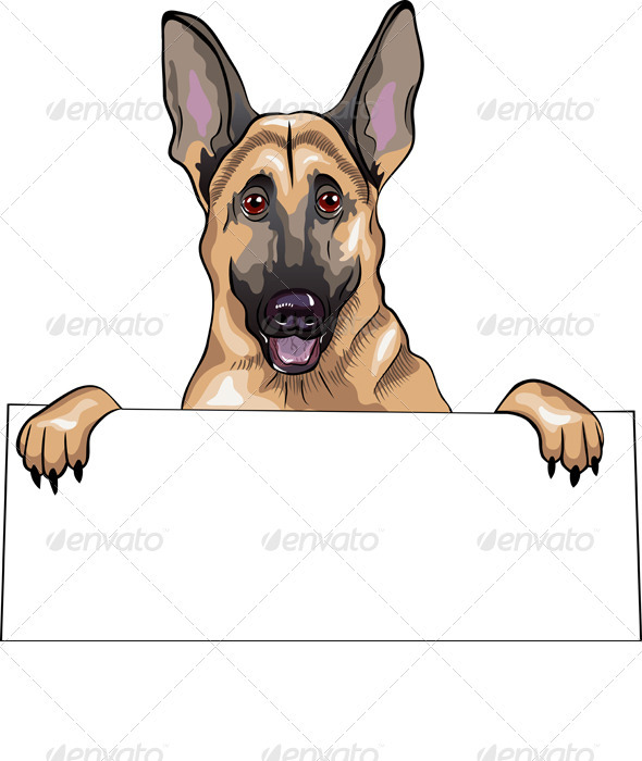 Vector Color Sketch Dog German Shepherd Breed - Animals Characters