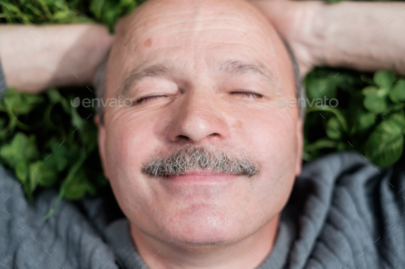 Mature Happy Man Lying On Green Grass. He smiles and closes eyes. - Stock Photo - Images