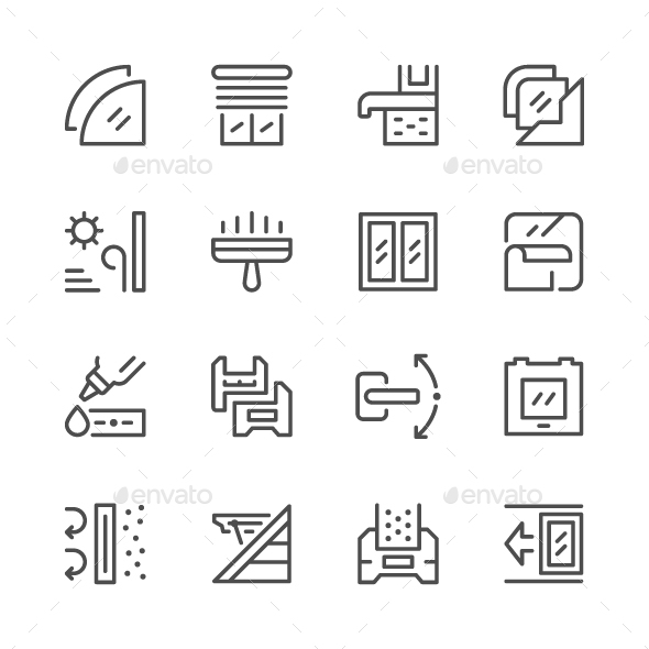 Set Line Icons of Window - Man-made objects Objects