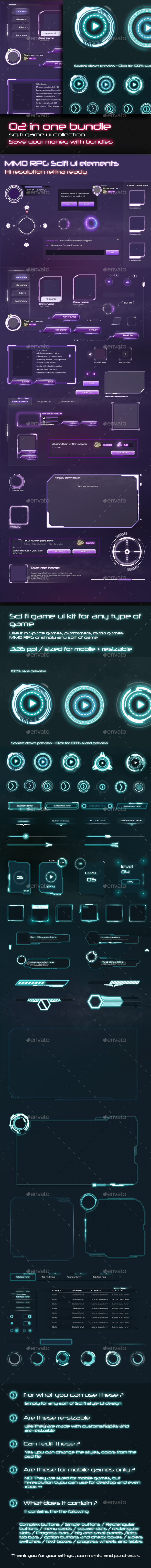 2 in 1 Sci-Fi UI Bundle - User Interfaces Game Assets