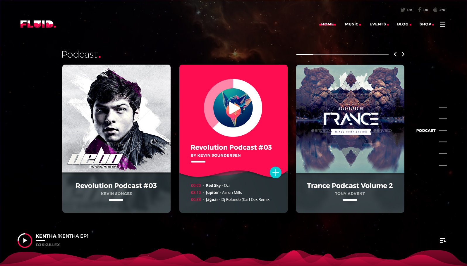 Fluid. Visionary Fullpage Music Photoshop Template by QantumThemes