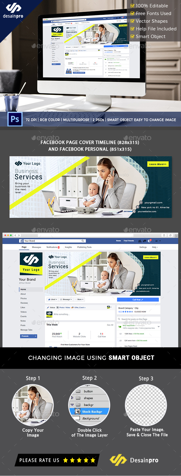 Professional Business Facebook Cover - Social Media Web Elements