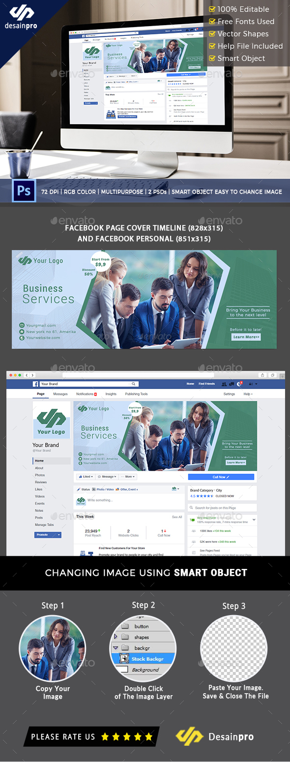 Business Services Facebook Timeline Cover - Social Media Web Elements