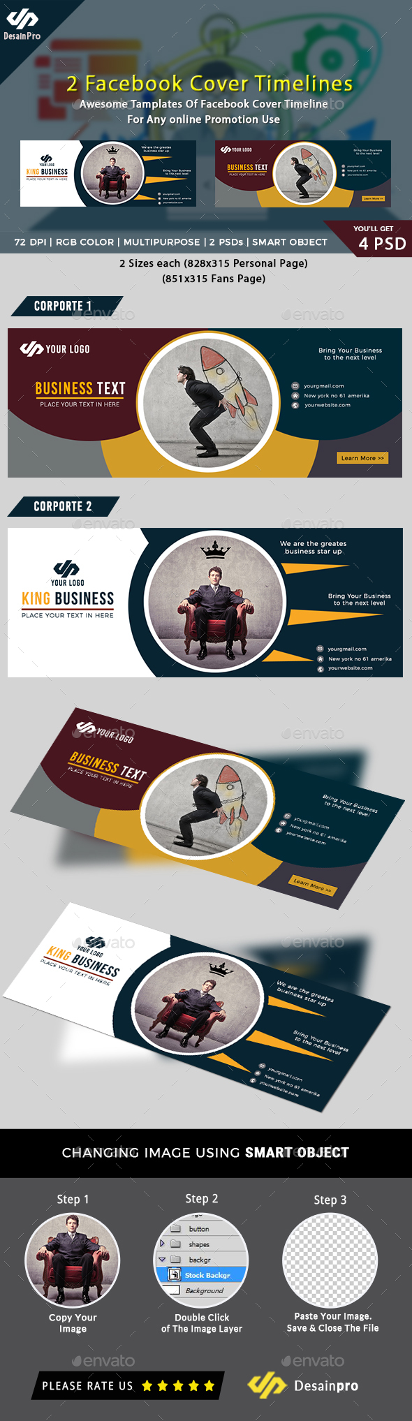 2 Business Corporate Facebook Cover Template - Social Media Web Elements