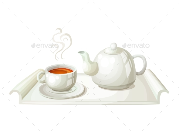 White Teapot and Cup of Tea - Food Objects
