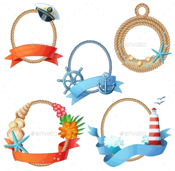 Set of Sea Frames. Ropes with Anchors, Seashells - Miscellaneous Vectors