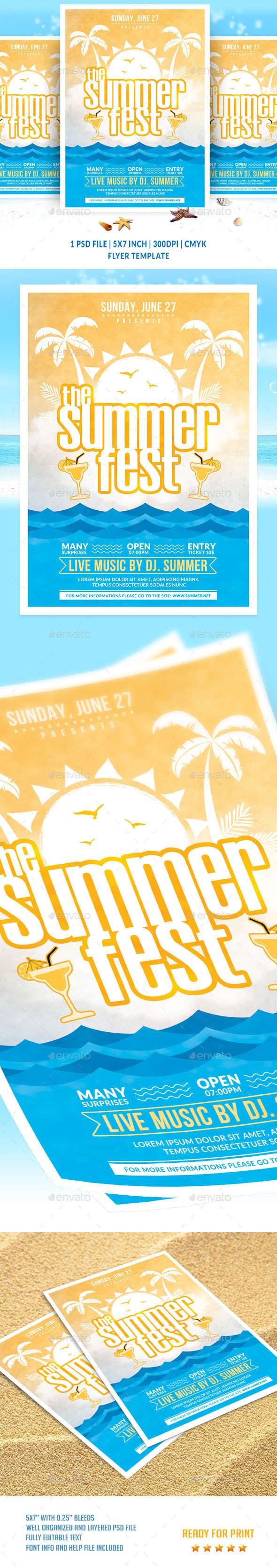 The Summer Fest Flyer Template - Clubs & Parties Events