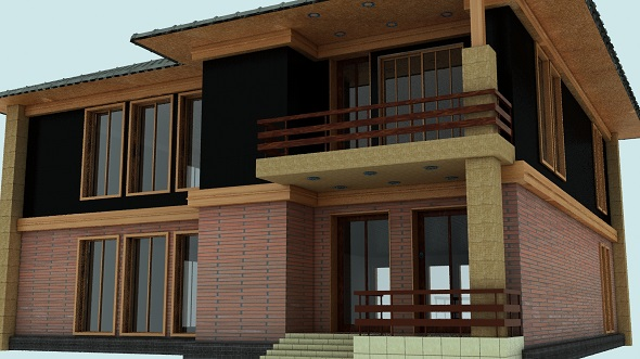 Modern two-storey cottage 004 - 3DOcean Item for Sale