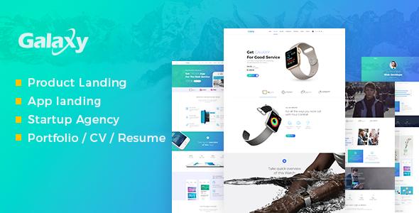 Galaxy - App landing, Product landing, Agency, Resume Landing Page
