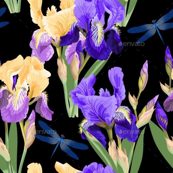 Floral Pattern with Iris Flowers - Flowers & Plants Nature