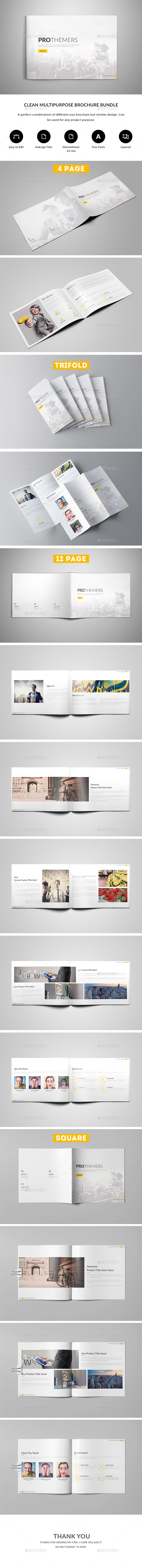 Clean Multipurpose Brochure Bundle - Brochures Print Templates
