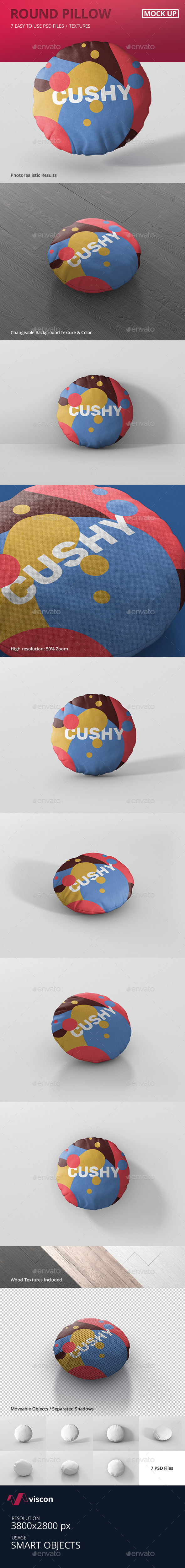 Pillow Mockup - Round - Miscellaneous Product Mock-Ups