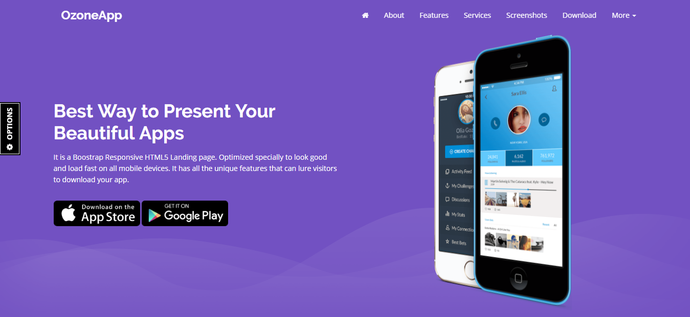 Ozone App -  Apps / Games Landing Page Template - Responsive HTML5 Template