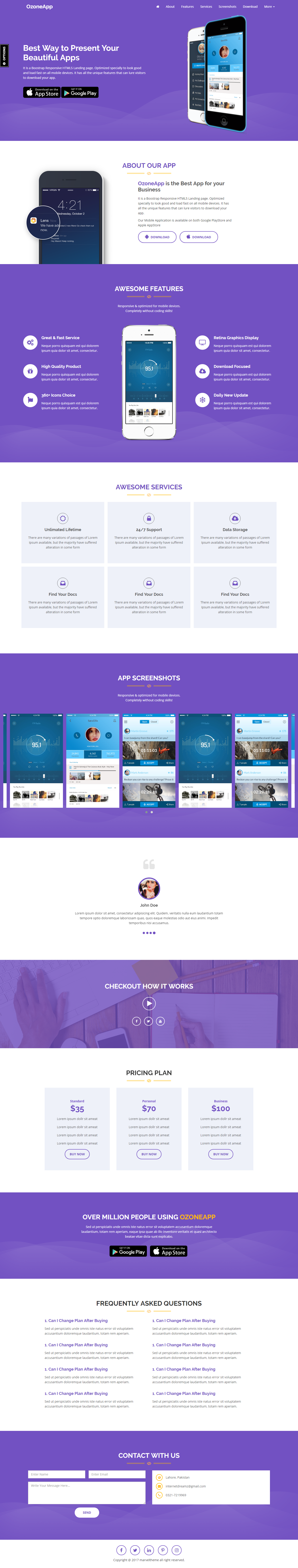 Ozone App Apps Games Landing Page Template Responsive HTML - Buy landing page template
