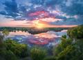 Fantastic summer landscape with lake, owercast sky - PhotoDune Item for Sale