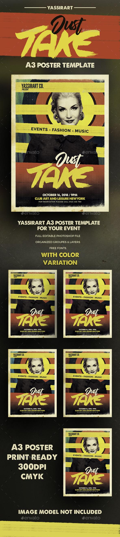 A3 Dj Poster Art Template - Clubs & Parties Events