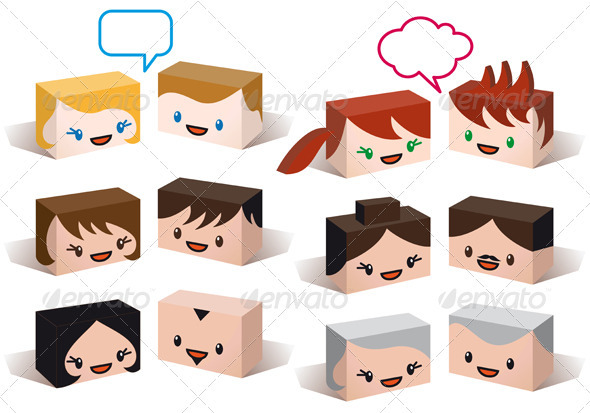 Avatar Heads, Vector People Icon Set - People Characters