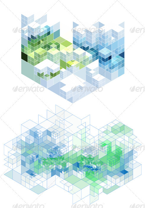 Abstract Cubic Background, Vector - Backgrounds Decorative