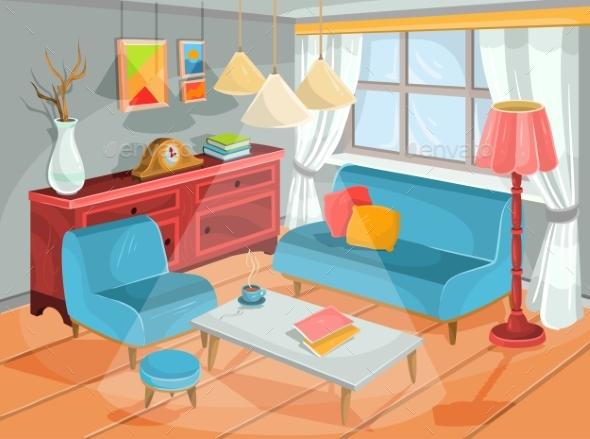 Vector Illustration of a Cozy Cartoon Interior - Miscellaneous Conceptual
