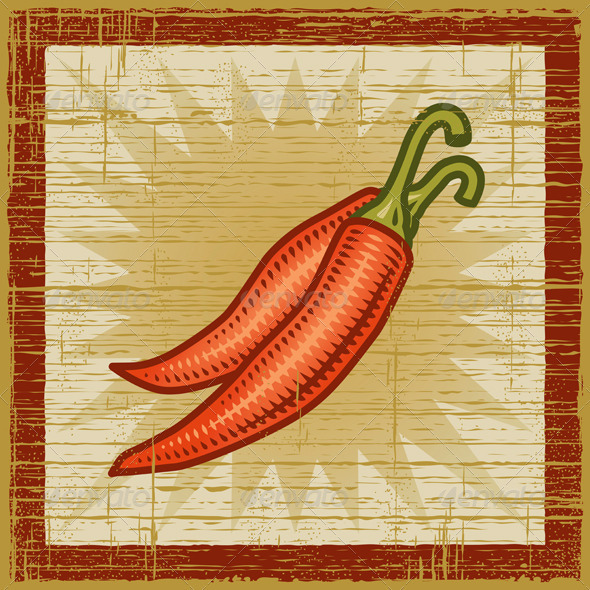 Retro Chili Pepper - Food Objects