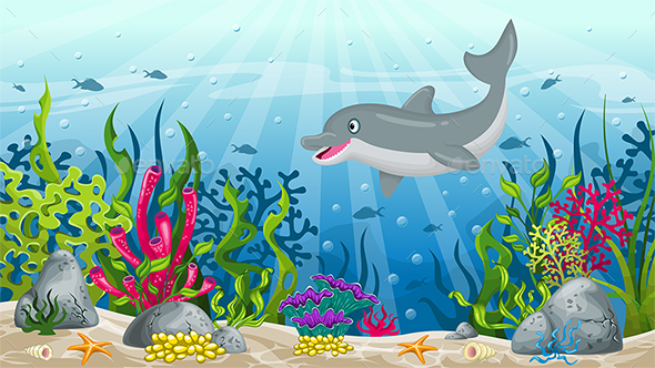 Illustration of Underwater Landscape with Dolphin - Landscapes Nature