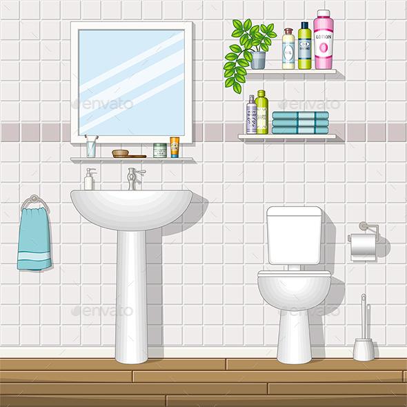 Illustration of a Bathroom - Miscellaneous Vectors