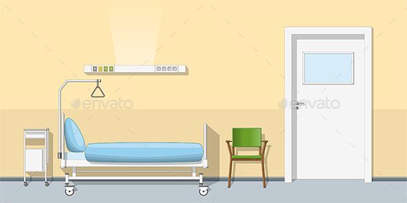 Illustration of a Sickroom - Health/Medicine Conceptual