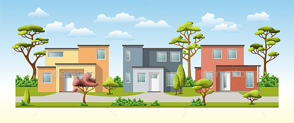 Three Modern Family House with Trees - Miscellaneous Vectors