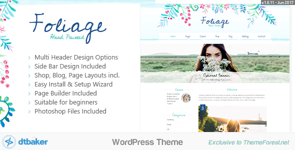 Foliage Watercolor - Creative WordPress Theme