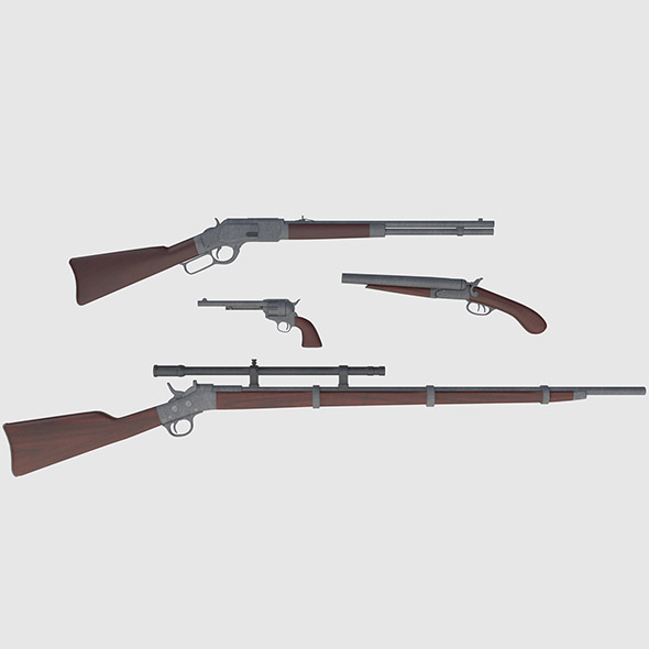 Wild West Weapons Combination Pack - Game Ready - 3DOcean Item for Sale