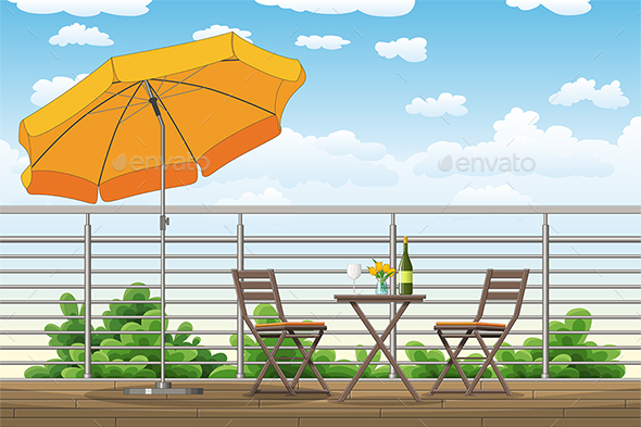 Balcony, Terrace with Tables and Chairs - Miscellaneous Vectors